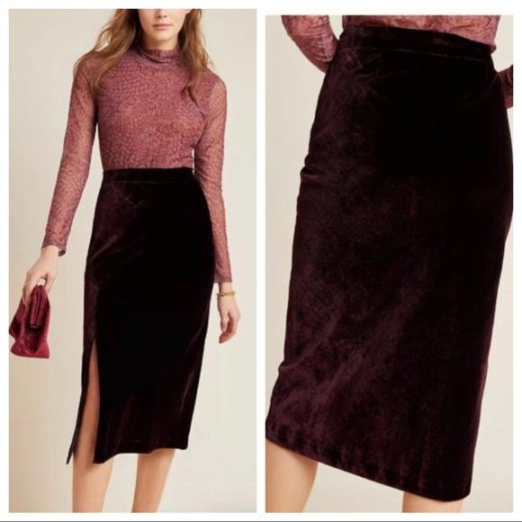 Anthropologie Dresses & Skirts - Anthropologie Maeve Velvet Midi Skirt Plum 10
